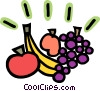 Vector Clip Art image  of a Grapes apple banana and peach
