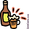 Vector Clip Art picture  of a beer bottle and mug of beer