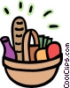 Picnic basket filled with food Vector Clipart illustration