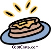 Vector Clip Art image  of a Stack of pancakes with butter