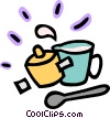 Measuring cup with pot and spoon Vector Clipart graphic