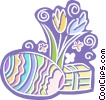 Easter egg, Easter flowers Vector Clipart picture