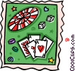 Vector Clip Art graphic  of a Roulette wheel with dice and