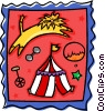 circus design with lion and tent Vector Clip Art picture