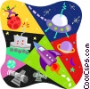 Vector Clipart graphic  of a Outer space rockets. UFOs and