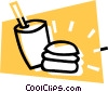 Vector Clip Art picture  of a hamburger and soft drink