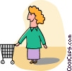 woman with shopping cart Vector Clipart image