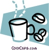 cup of coffee with coffee beans Vector Clip Art graphic
