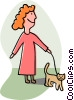 Vector Clip Art graphic  of a woman walking her cat
