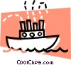 Vector Clip Art graphic  of a cargo ship