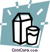 carton of milk with a glass Vector Clipart picture
