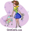Vector Clipart graphic  of a Woman grocery shopping