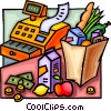 Vector Clip Art picture  of a Cash register and groceries