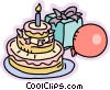 Birthday cake, presents and balloons Vector Clipart illustration