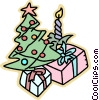 Christmas tree with presents Vector Clipart picture