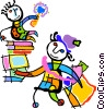 student off to school with sibling riding books Vector Clipart graphic