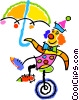 Vector Clip Art picture  of a Clown on a unicycle
