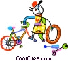 Vector Clip Art image  of a bicycle repair