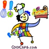 Vector Clip Art image  of a chef with a cake
