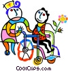 Vector Clipart illustration  of a patient in a wheelchair