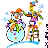 Vector Clip Art image  of a building a snowman