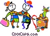 Vector Clipart picture  of a family vacation