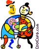 Vector Clipart picture  of a New parents with a baby