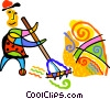Vector Clipart graphic  of a gardener raking