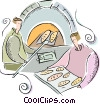 Vector Clip Art graphic  of a Baker taking bread from oven