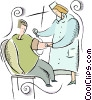 Vector Clipart image  of a nurse taking a blood pressure
