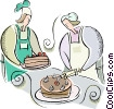 Pastry chef making cake Vector Clipart picture