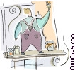 Painter at work Vector Clip Art picture