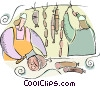 Vector Clipart graphic  of a Butcher making sausage