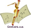 Vector Clip Art picture  of a Bassoon with sheet music