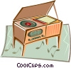 Old record player Vector Clip Art graphic