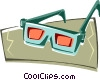 Vector Clipart graphic  of a 3-D glasses