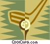 Vector Clipart image  of a golf club and ball