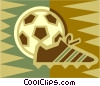 soccer ball, soccer cleat Vector Clipart illustration