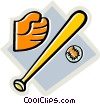Vector Clip Art image  of a baseball equipment