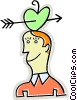 Man with arrow though apple on his head Vector Clipart picture