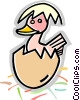 Vector Clip Art graphic  of a Chicks