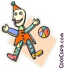 Toy clown and ball Vector Clipart picture