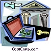 Vector Clip Art image  of a briefcase with money and a