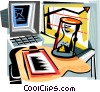 Vector Clipart graphic  of a hourglass sitting on an office