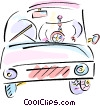 Vector Clip Art graphic  of a Man driving car