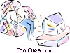 Person watching tv Vector Clipart image