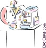 Vector Clipart picture  of a standing at the cappuccino machine
