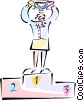 Vector Clipart picture  of a Woman with winning trophy