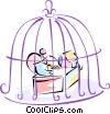 Vector Clip Art graphic  of a man in a bird cage