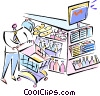 Vector Clip Art graphic  of a Shopping Baskets and Carts
